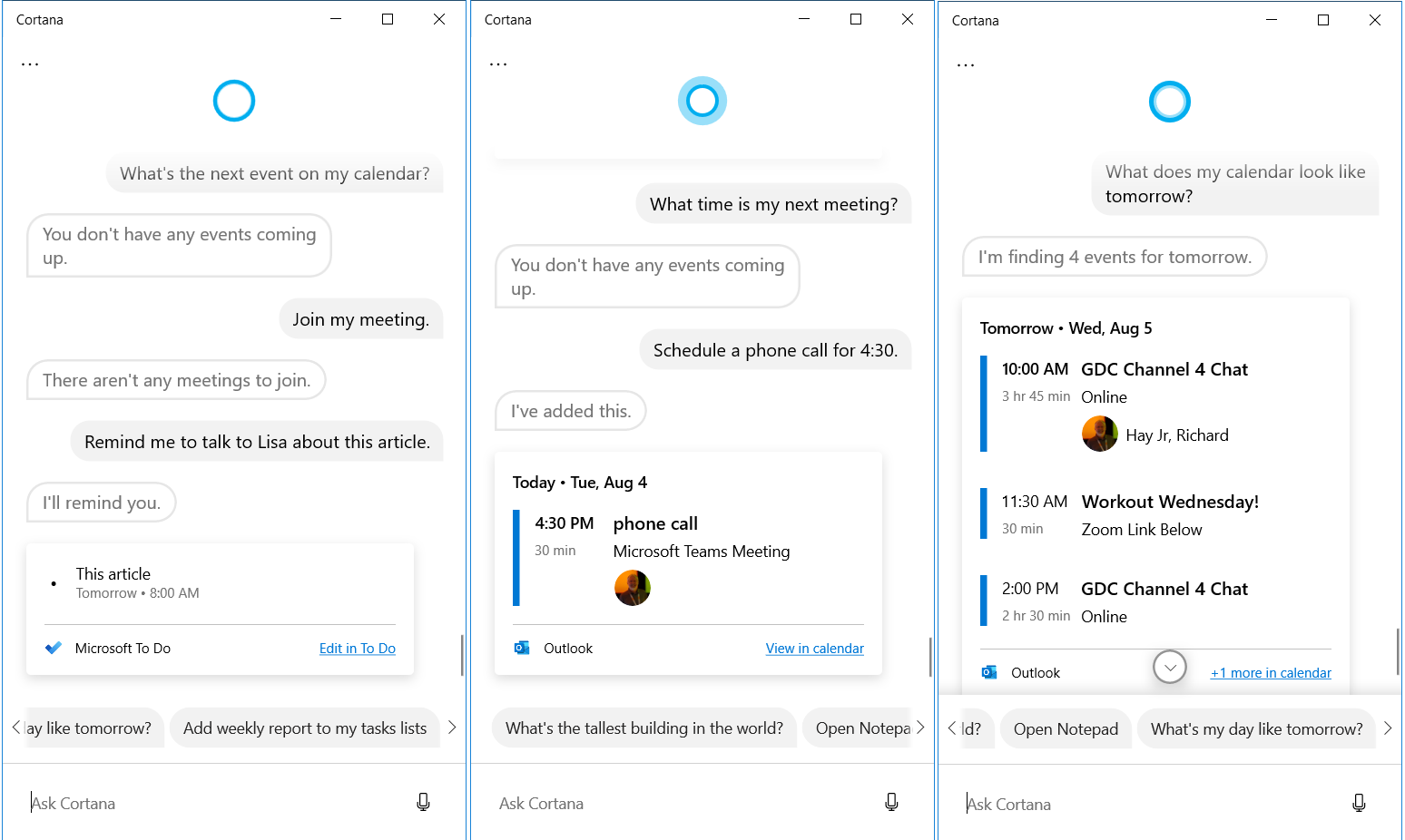 Cortana App for Windows 10 examples