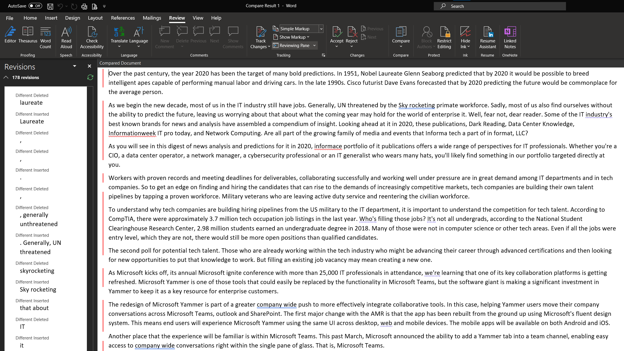 Microsoft document changes comparison transcription and script word transcribe in word