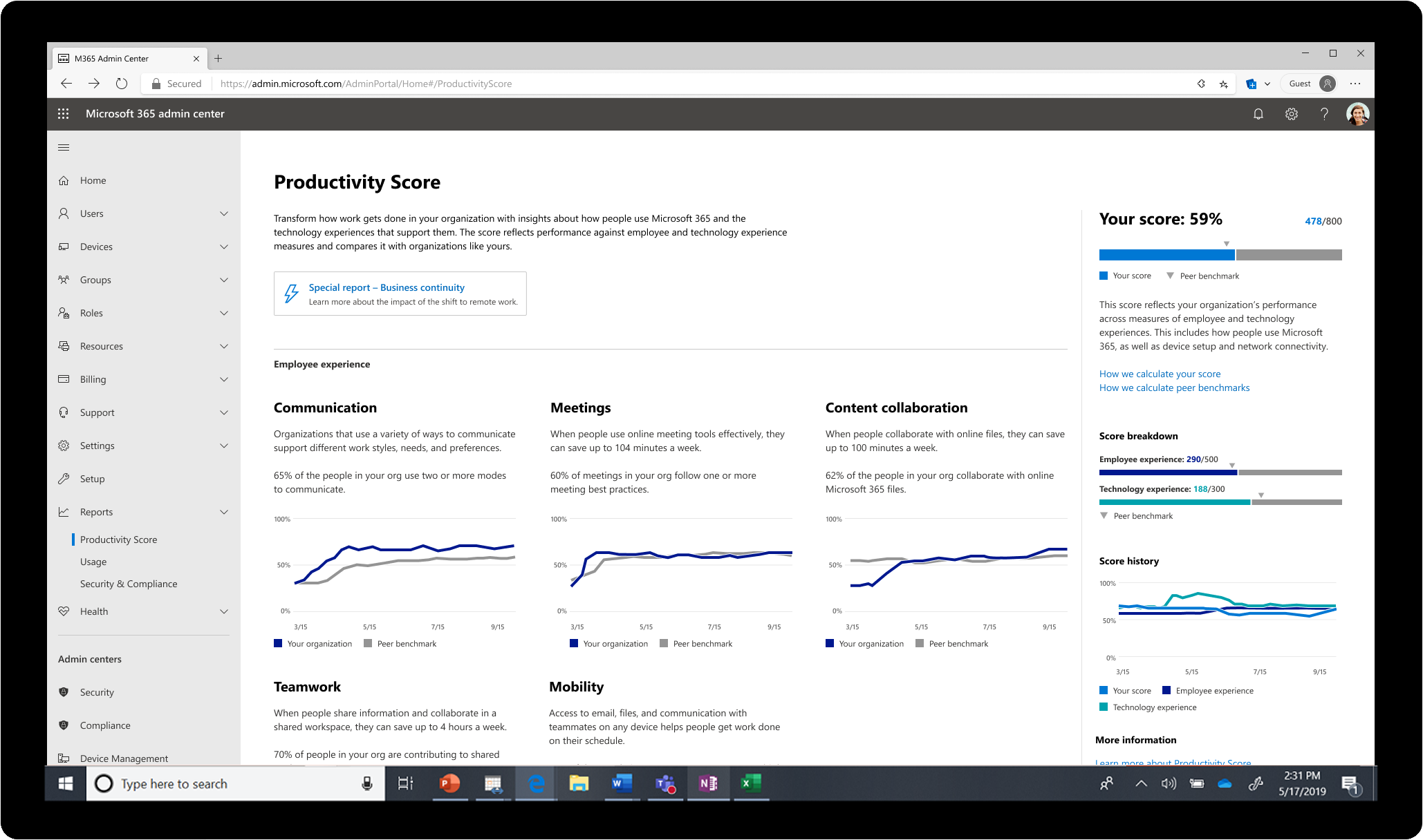 microsoft 365 productivity score ignite 2020