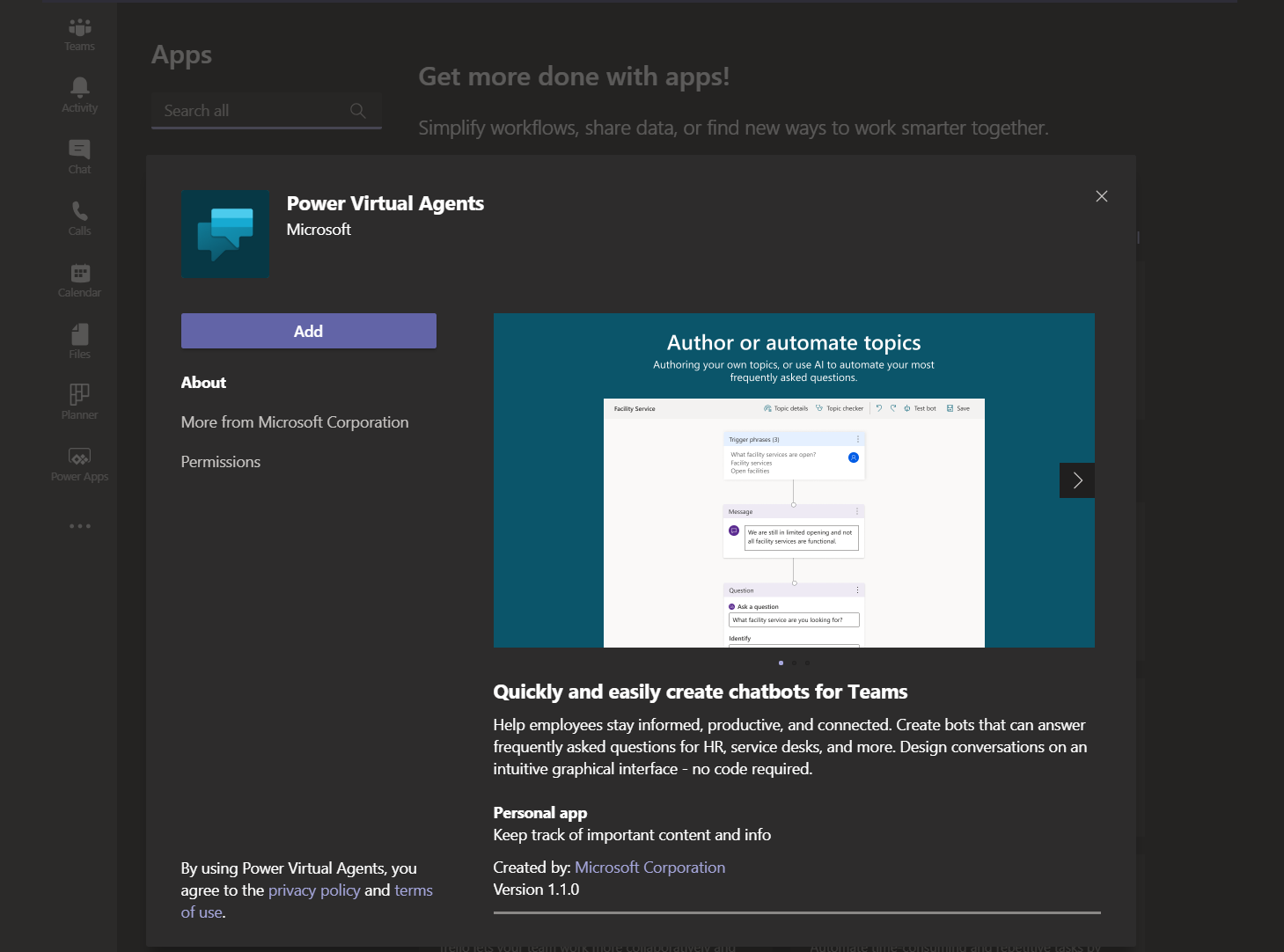 microsoft teams power platform virtual agents app