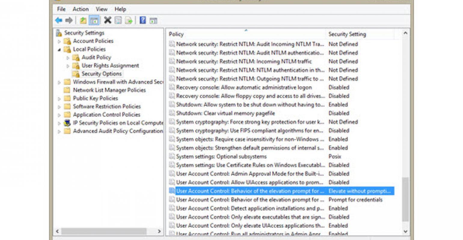 Changing UAC Behavior for Windows Server 2012 R2 and Windows