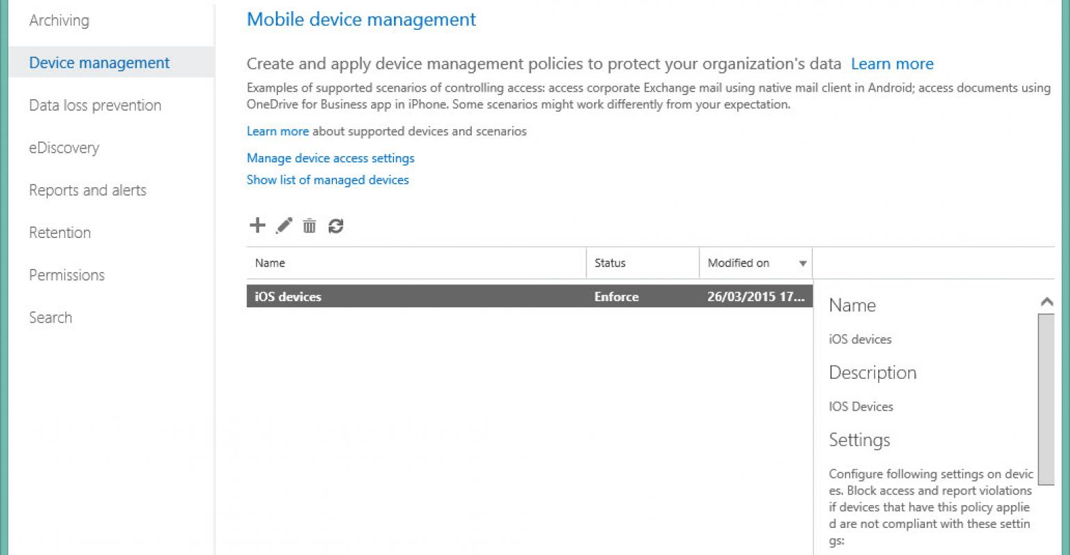 MDM for Office 365 - better than EAS policies, but not quite