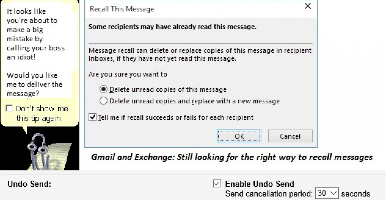 Google's Undo Send feature is better than Outlook Recall