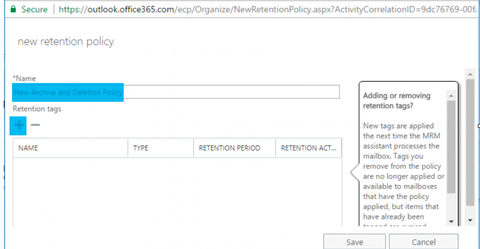 How to Create a Retention Policy and Apply it to User
