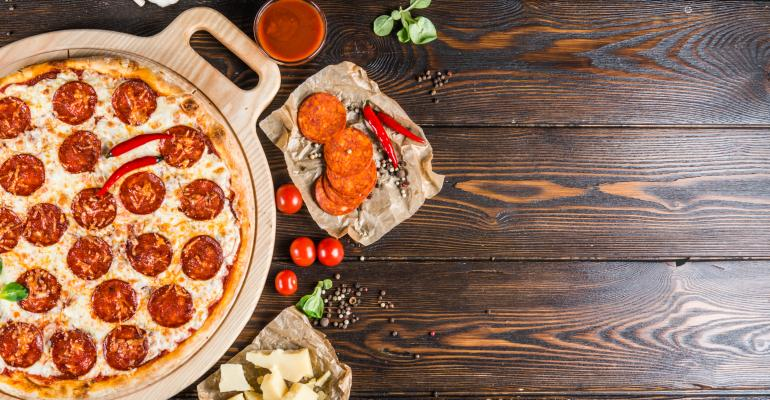 pepperoni pizza table