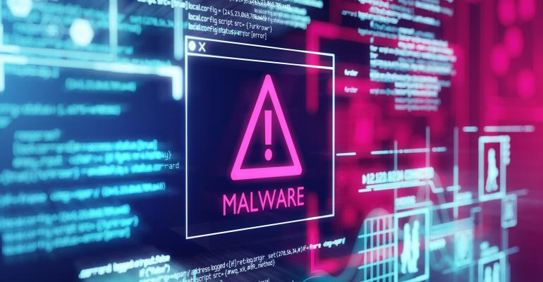 malware on high tech computer screen