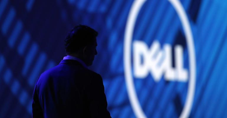 dell logo with man's silhouette