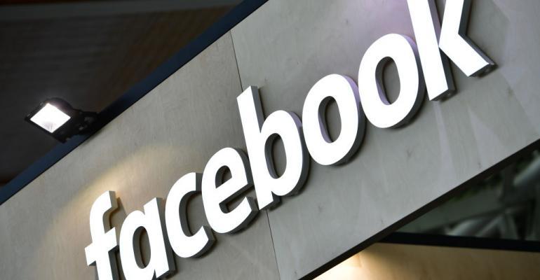 facebook logo on wall