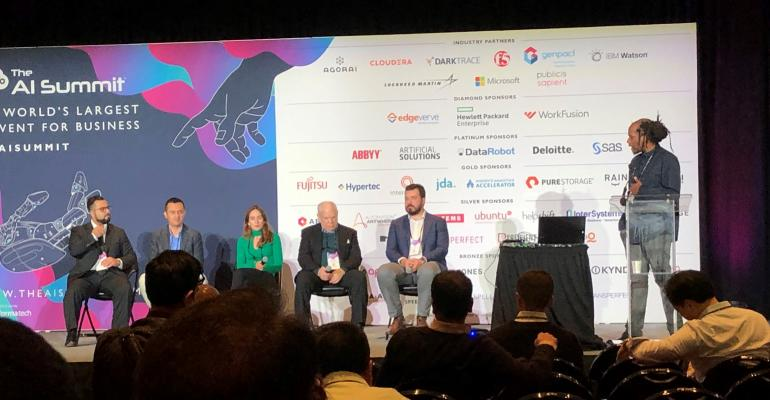 2019 AI Summit panel discussion titled The Role of Policy and Regulation in the Development of AI