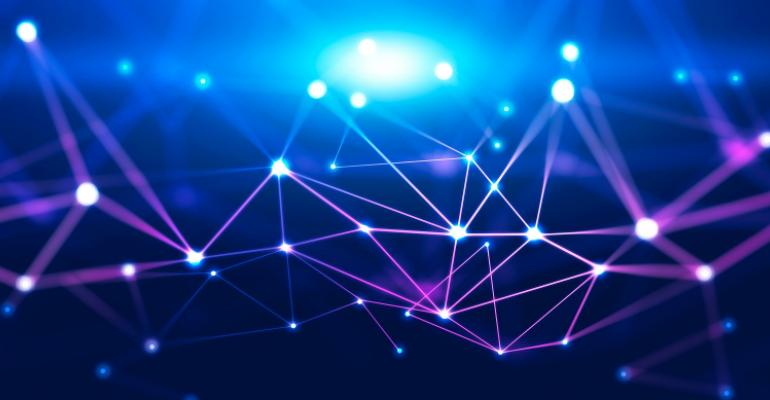 Abstract background with glowing purple and blue connection dots over dark blue