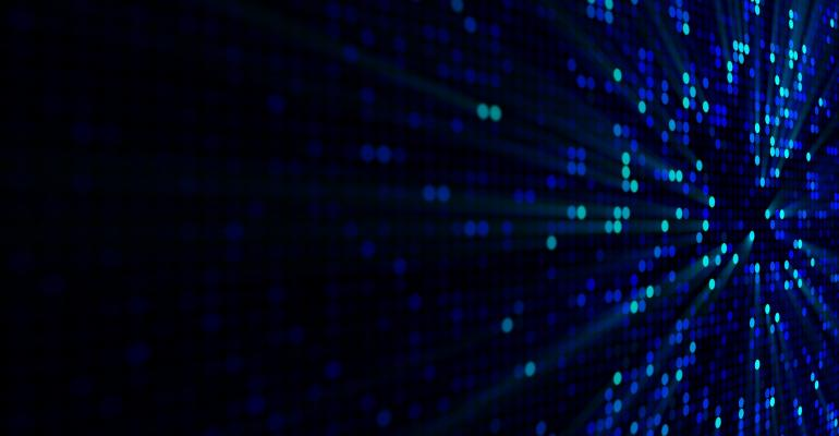 Blue glowing circle pixels on edge of LED screen