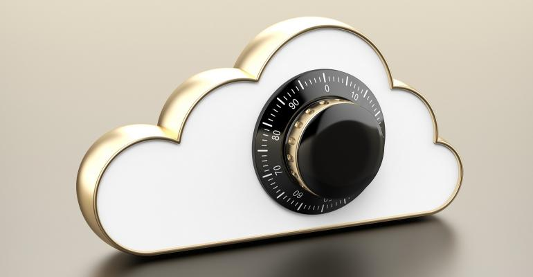 White cloud with a combination lock
