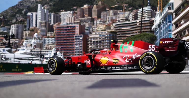 Carlos Sainz of Spain driving the (55) Scuderia Ferrari SF21 on track during practice ahead of the F1 Grand Prix of Monaco at Circuit de Monaco on May 20, 2021 in Monte-Carlo, Monaco