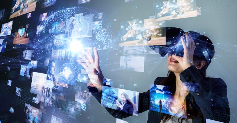 woman uses ar and vr headset to watch videos