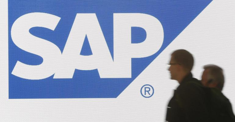 sap logo screen with people