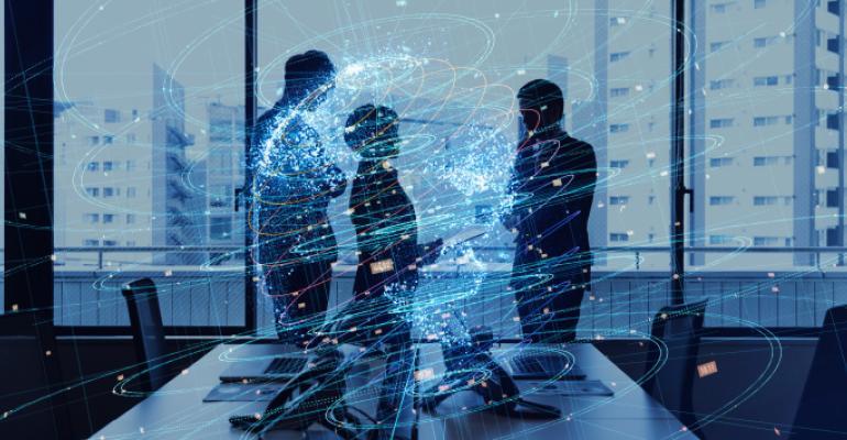 Artist rendering of digital graphics over people in office