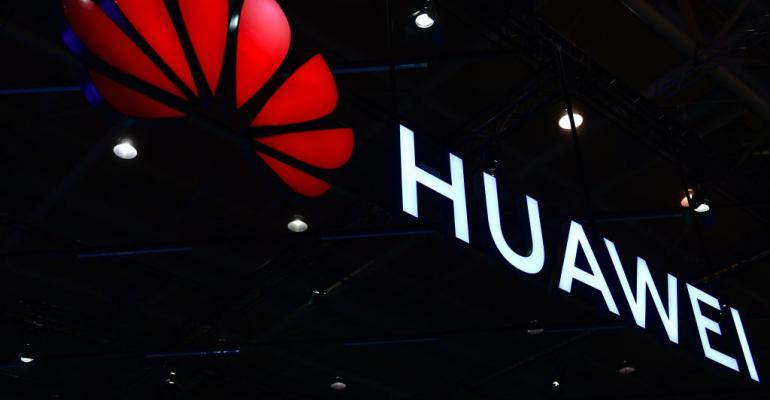 Huawei sign at CeBIT Technology Trade Fair 2018
