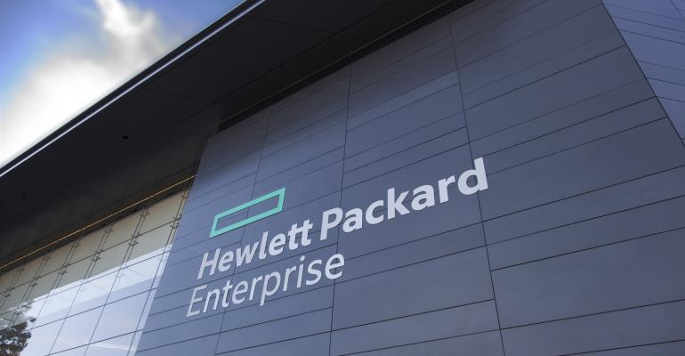 Hewlett Packard Enterprise HPE building logo