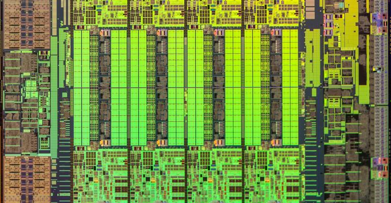 An Intel E5-1600 v3 processor die