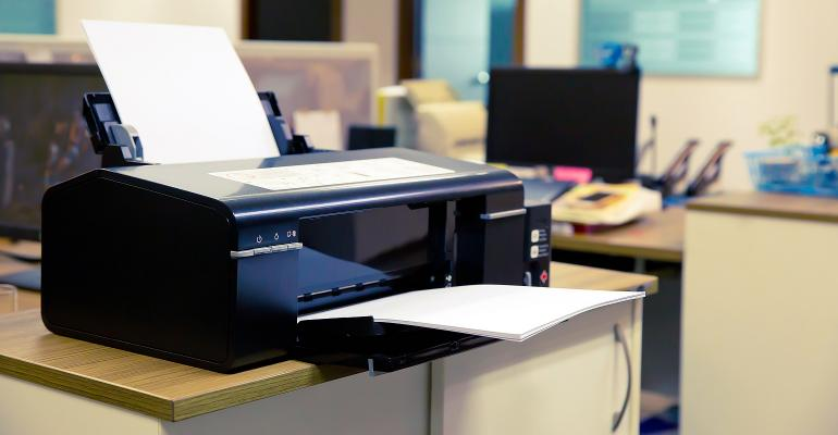 Laser printer in an office