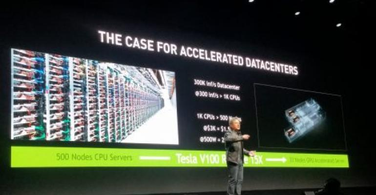 NVIDIA CEO Jensen Huang speaking at the company's conference in Silicon Valley in 2017