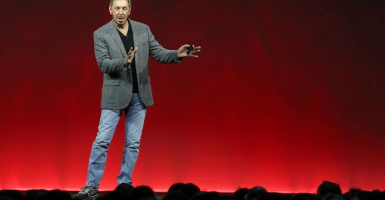 Oracle co-founder and chairman Larry Ellison delivers a keynote address at Oracle OpenWorld on October 22, 2018 in San Francisco