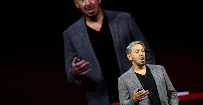 Oracle co-founder, chairman, and CTO Larry Ellison delivers a keynote at Oracle OpenWorld on October 22, 2018 in San Francisco.
