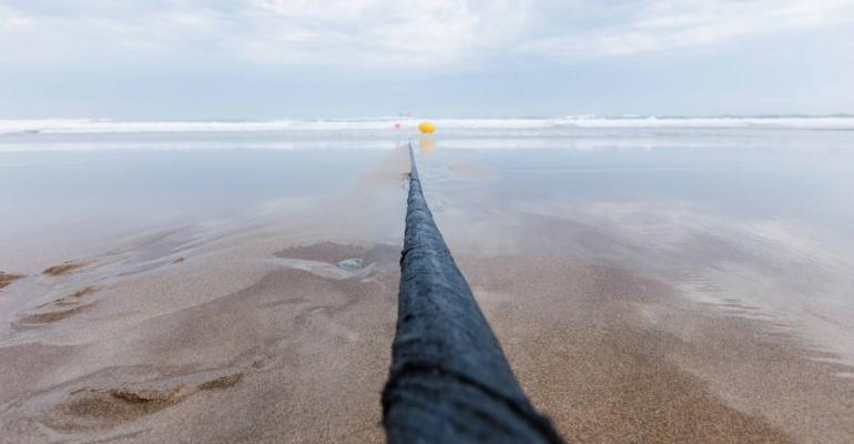 Marea submarine cable running into the ocean in Virginia Beach, Virginia