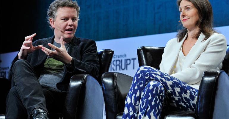Cloudflare founders Matthew Prince (COO) and Michelle Zatlyn (COO) speak at TechCrunch 2015 in San Francisco