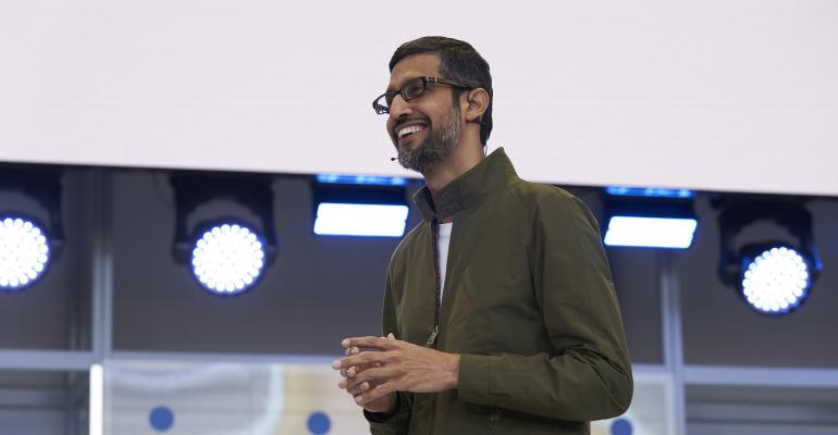 Sundar Pichai, Alphabet CEO, speaking at Google I/O 2018
