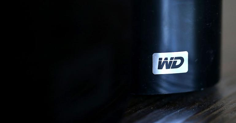 Western Digital logo on a hard drive