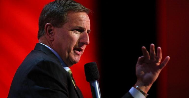 Oracle Co-CEO Mark Hurd speaking at Oracle Open World in September 2013 in San Francisco. Hurd was then the company's president.