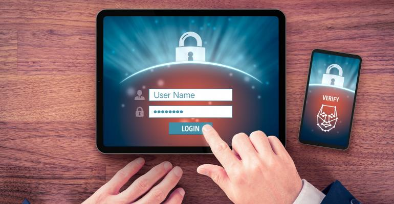 Two-factor authentication (2FA) and face identification cybersecurity concept