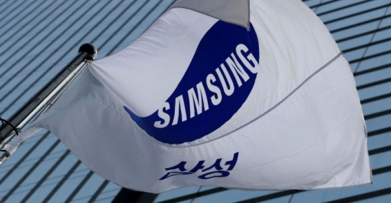 Samsung Flag in front of building