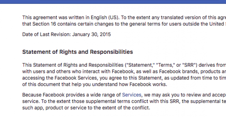 facebook terms of service