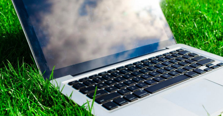 Laptop with clouds onscreen