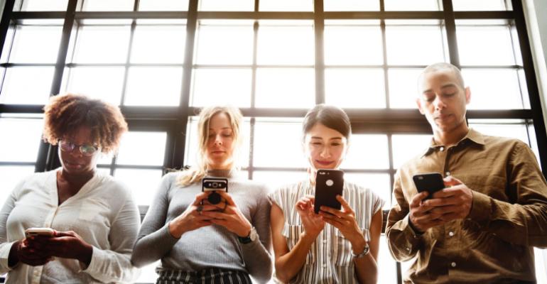 People on smartphones