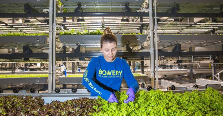 Katie Morich, a farmer at indoor vertical farm startup Bowery Farming. Photographer: David Williams/Bloomberg