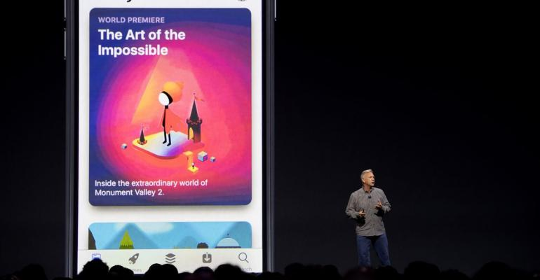 Phil Schiller, senior vice president of worldwide marketing at Apple Inc., speaks during the Apple Worldwide Developers Conference (WWDC) in San Jose, California, on June 5, 2017.