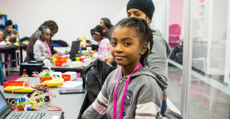 Young girls participating in Black Girls Code project
