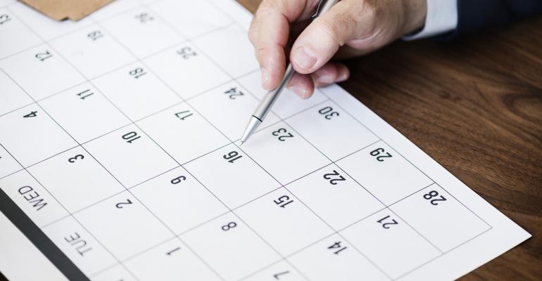 Paper Calendar on Desk