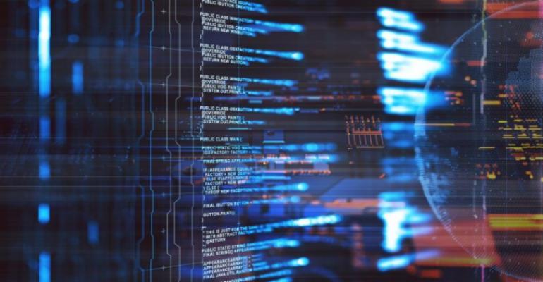 Image shows a server room illustration with node based programming data design element