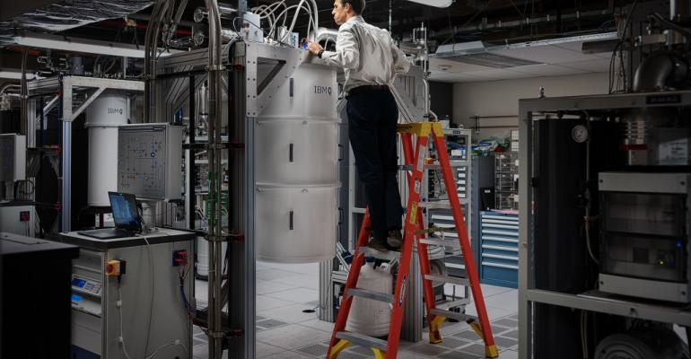 Douglas McClure, Manager, Quantum Engineering, IBM Research, working on IBM Q System One quantum computer on October 18, 2019 at IBM's research facility in Yorktown Heights, N.Y.