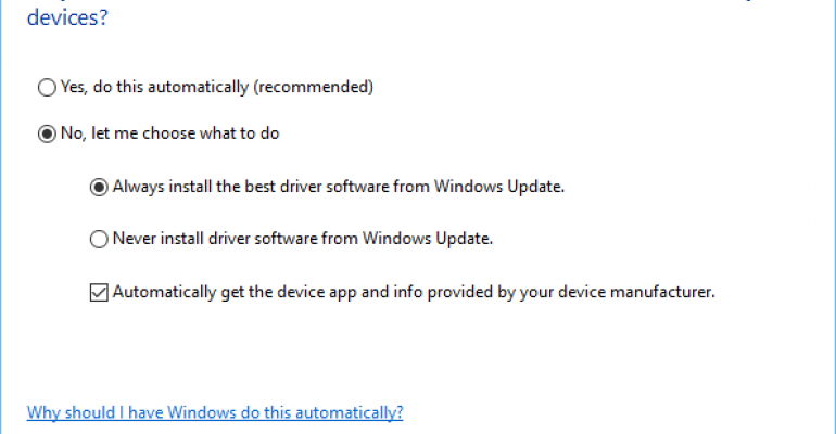 Image of Windows 10 Device Installation Settings dialog box