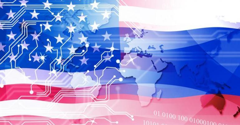 Image of United States flag overlaid on digital background