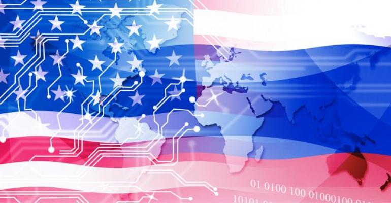 Image of United States flag overlaid on digital background