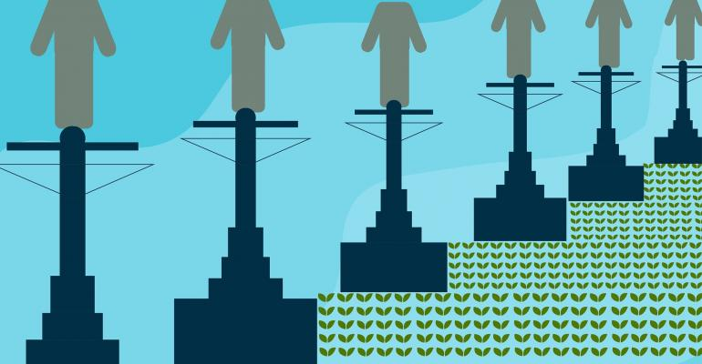 A picture graphic of people atop telephone wires and buildings