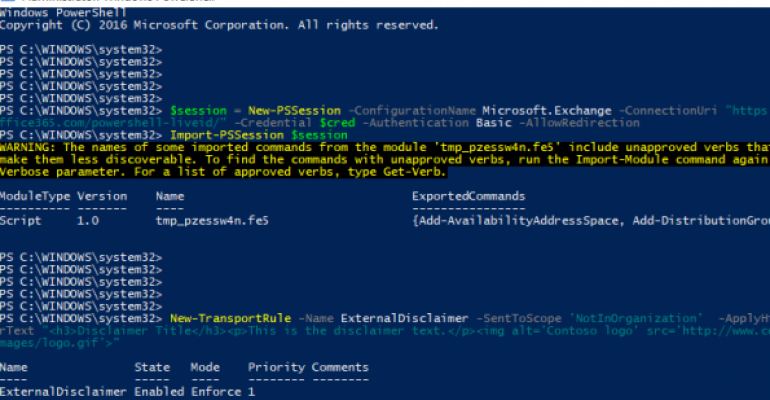 Email Disclaimer with Office 365 PowerShell