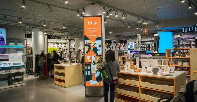 A boutique selling selections from merchants on the online marketplace Etsy in the basement of Macy's Herald Square in New York in January 2016
