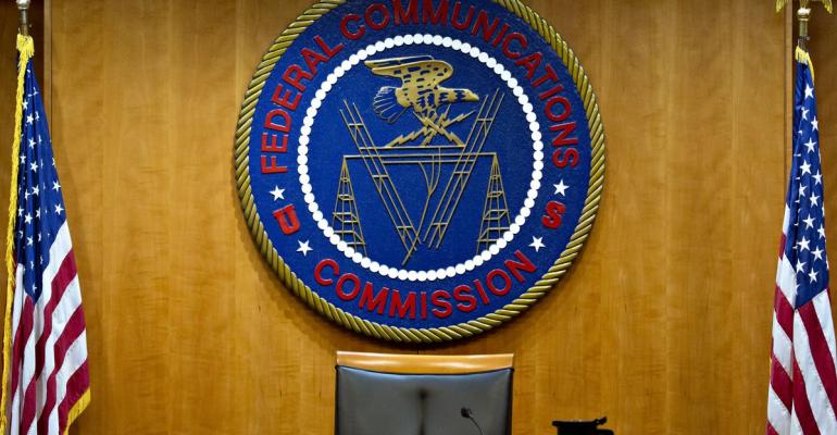 The Federal Communications Commission (FCC) seal in Washington, D.C. Photographer: Andrew Harrer/Bloomberg
